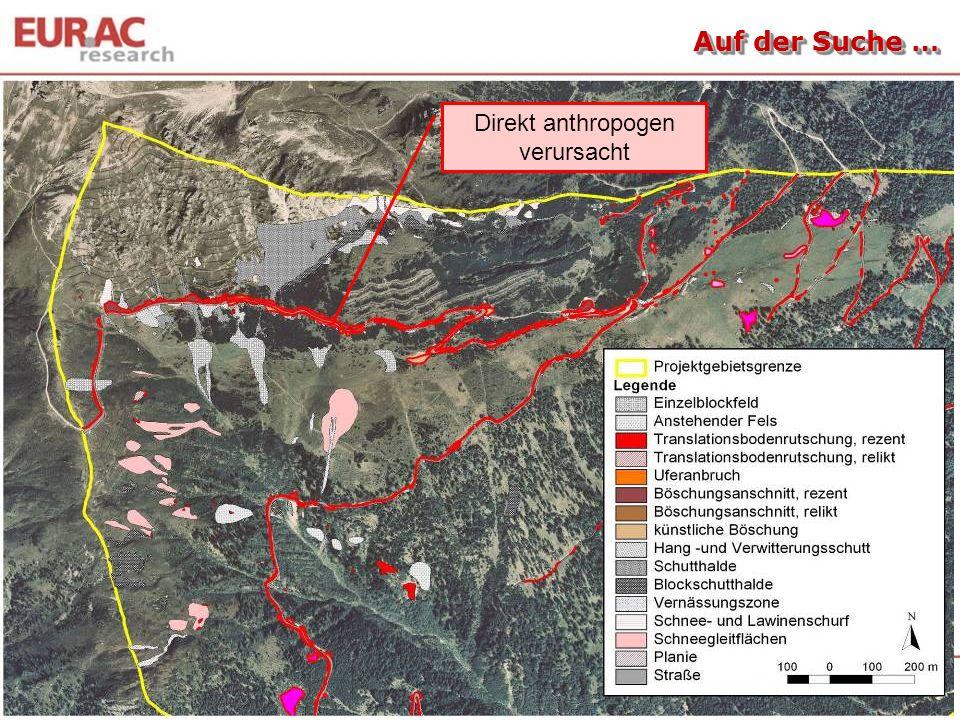 Oberflächenabtrag … 0 5 10 15 20 25 30 35 40 Intensiv genutzte Bergwiese Extensiv genutzte Bergwiese WeideflächeBrachfläche, verstraucht Erosionsfläche Bodenabtrag (mg m -2 ) 95-98 % 100 % 95 % 90-100 % 15 % Tasser et al., 1999