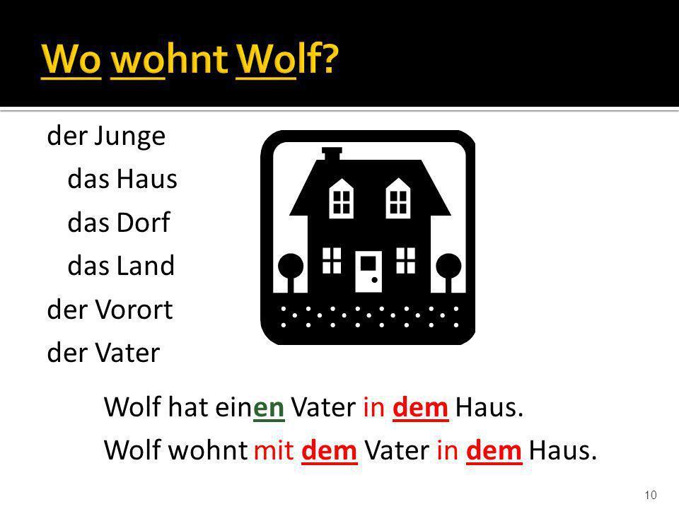 10 Wolf hat einen Vater in dem Haus. Wolf wohnt mit dem Vater in dem Haus. der Junge das Haus das Dorf das Land der Vorort der Vater