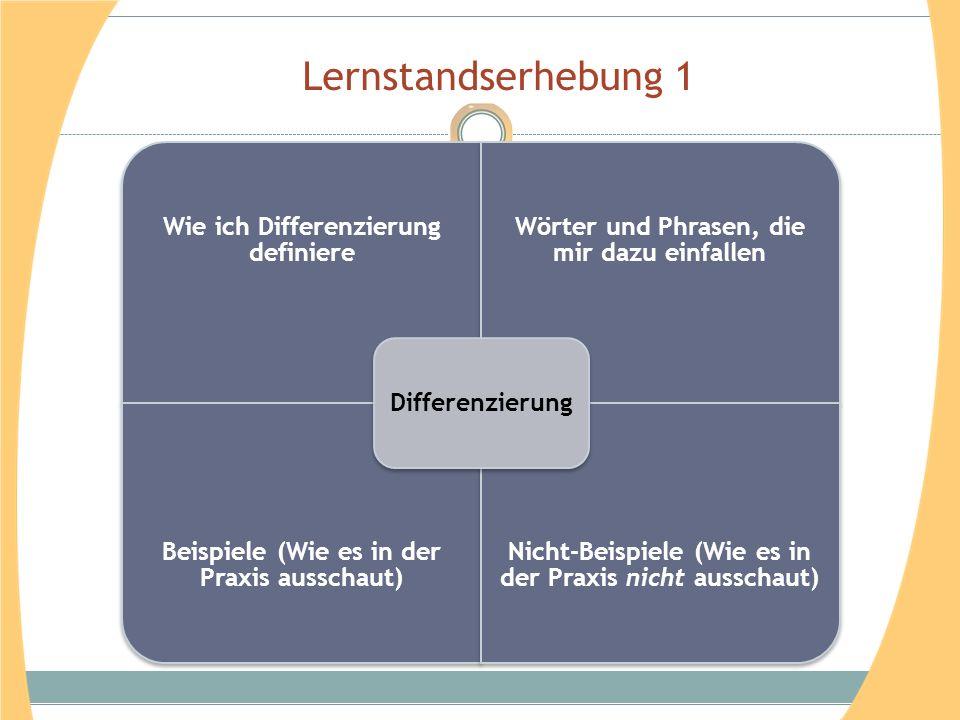 Lernstandserhebung 1 Wie ich Differenzierung definiere Wörter und Phrasen, die mir dazu einfallen Beispiele (Wie es in der Praxis ausschaut) Nicht-Bei