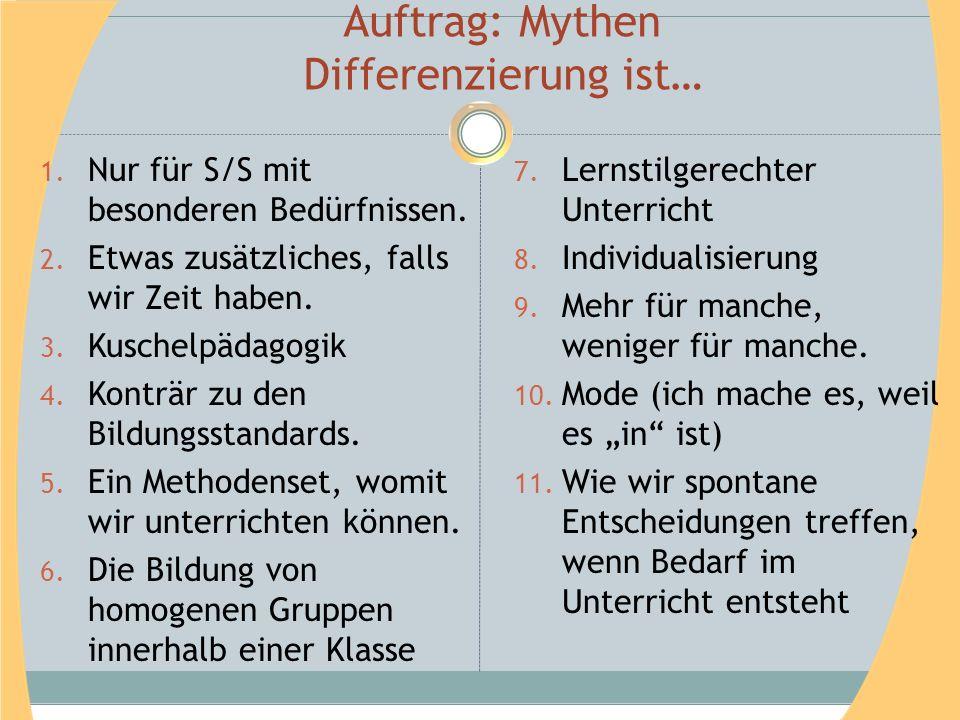 Auftrag: Mythen Differenzierung ist… 1. Nur für S/S mit besonderen Bedürfnissen. 2. Etwas zusätzliches, falls wir Zeit haben. 3. Kuschelpädagogik 4. K