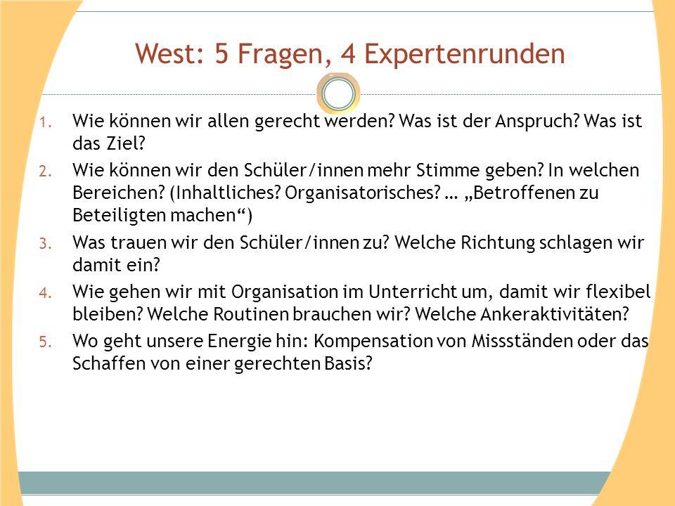 West: 5 Fragen, 4 Expertenrunden 1. Wie können wir allen gerecht werden? Was ist der Anspruch? Was ist das Ziel? 2. Wie können wir den Schüler/innen m