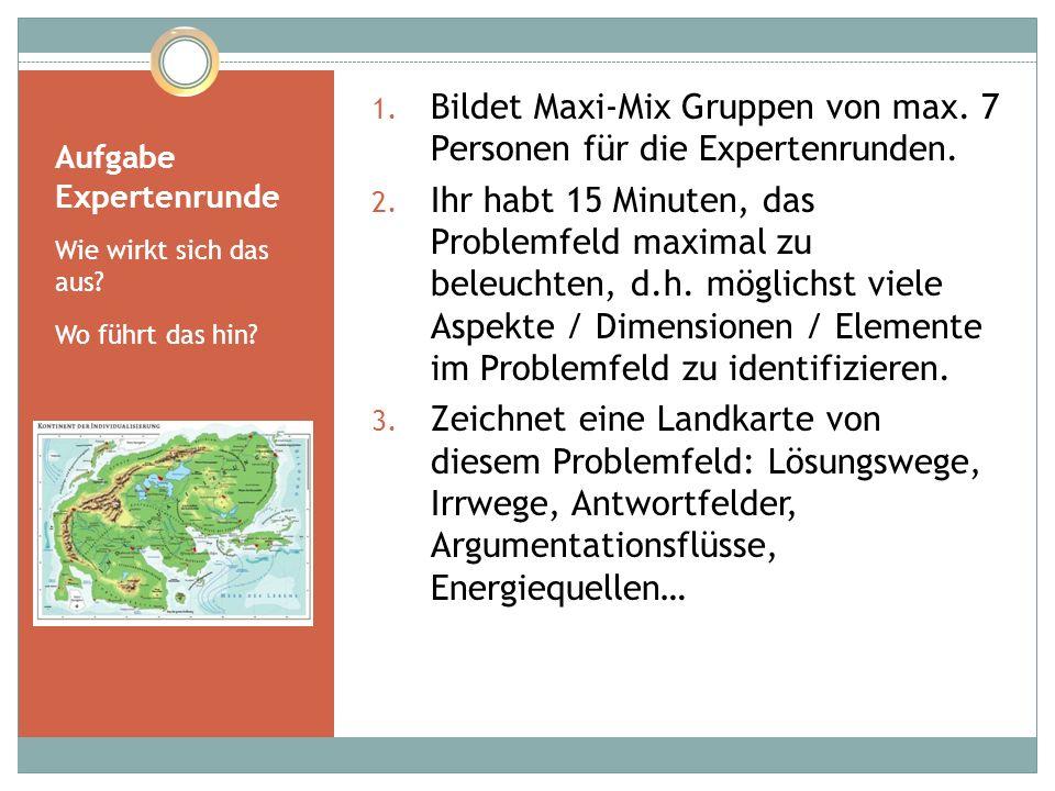 Aufgabe Expertenrunde Wie wirkt sich das aus? Wo führt das hin? 1. Bildet Maxi-Mix Gruppen von max. 7 Personen für die Expertenrunden. 2. Ihr habt 15