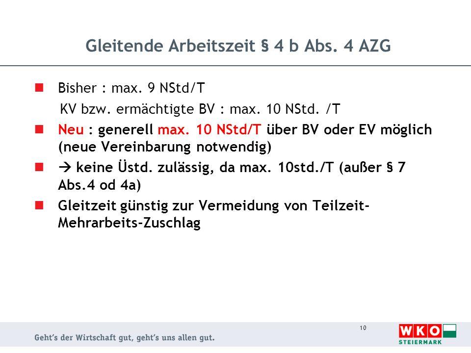 10 Gleitende Arbeitszeit § 4 b Abs. 4 AZG Bisher : max. 9 NStd/T KV bzw. ermächtigte BV : max. 10 NStd. /T Neu : generell max. 10 NStd/T über BV oder