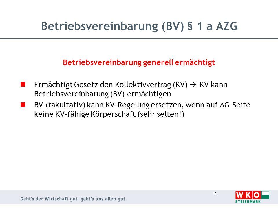2 Betriebsvereinbarung generell ermächtigt Ermächtigt Gesetz den Kollektivvertrag (KV) KV kann Betriebsvereinbarung (BV) ermächtigen BV (fakultativ) k