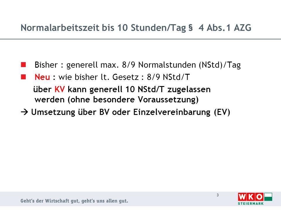 4 Einarbeiten im Zusammenhang mit dem Feiertag § 4 Abs.3 AZG Bisher : bis 7 Wo/EV oder BV/max.