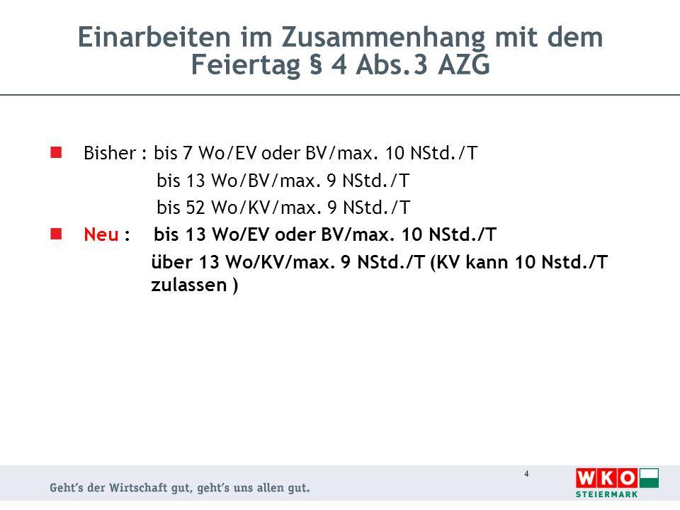 4 Einarbeiten im Zusammenhang mit dem Feiertag § 4 Abs.3 AZG Bisher : bis 7 Wo/EV oder BV/max. 10 NStd./T bis 13 Wo/BV/max. 9 NStd./T bis 52 Wo/KV/max
