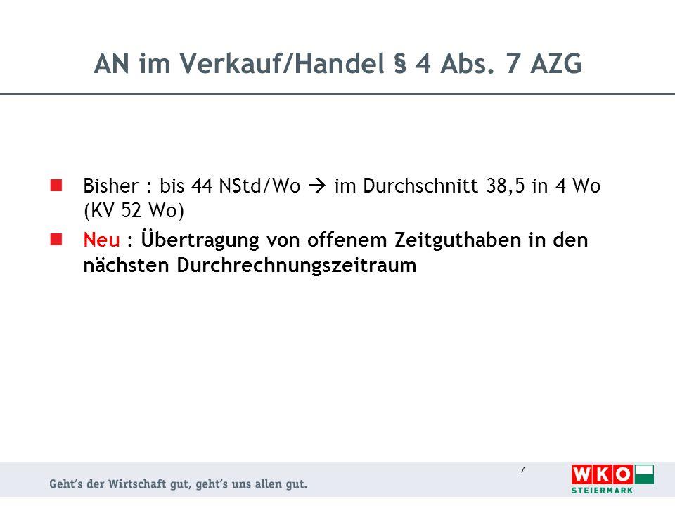 7 AN im Verkauf/Handel § 4 Abs. 7 AZG Bisher : bis 44 NStd/Wo im Durchschnitt 38,5 in 4 Wo (KV 52 Wo) Neu : Übertragung von offenem Zeitguthaben in de