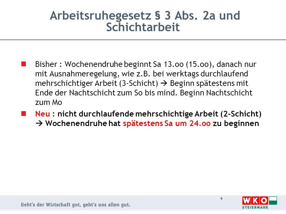 9 Arbeitsruhegesetz § 3 Abs. 2a und Schichtarbeit Bisher : Wochenendruhe beginnt Sa 13.oo (15.oo), danach nur mit Ausnahmeregelung, wie z.B. bei werkt