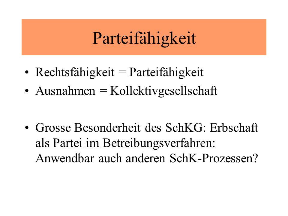 Parteifähigkeit Rechtsfähigkeit = Parteifähigkeit Ausnahmen = Kollektivgesellschaft Grosse Besonderheit des SchKG: Erbschaft als Partei im Betreibungsverfahren: Anwendbar auch anderen SchK-Prozessen?
