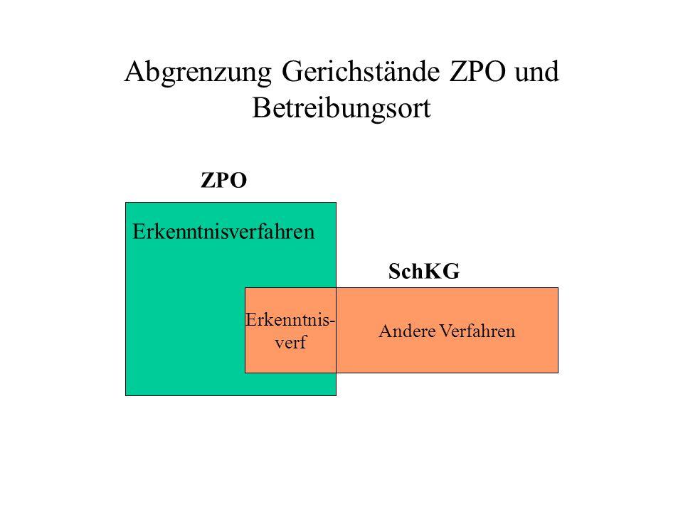 Abgrenzung Gerichstände ZPO und Betreibungsort Erkenntnisverfahren Erkenntnis- verf SchKG ZPO Andere Verfahren