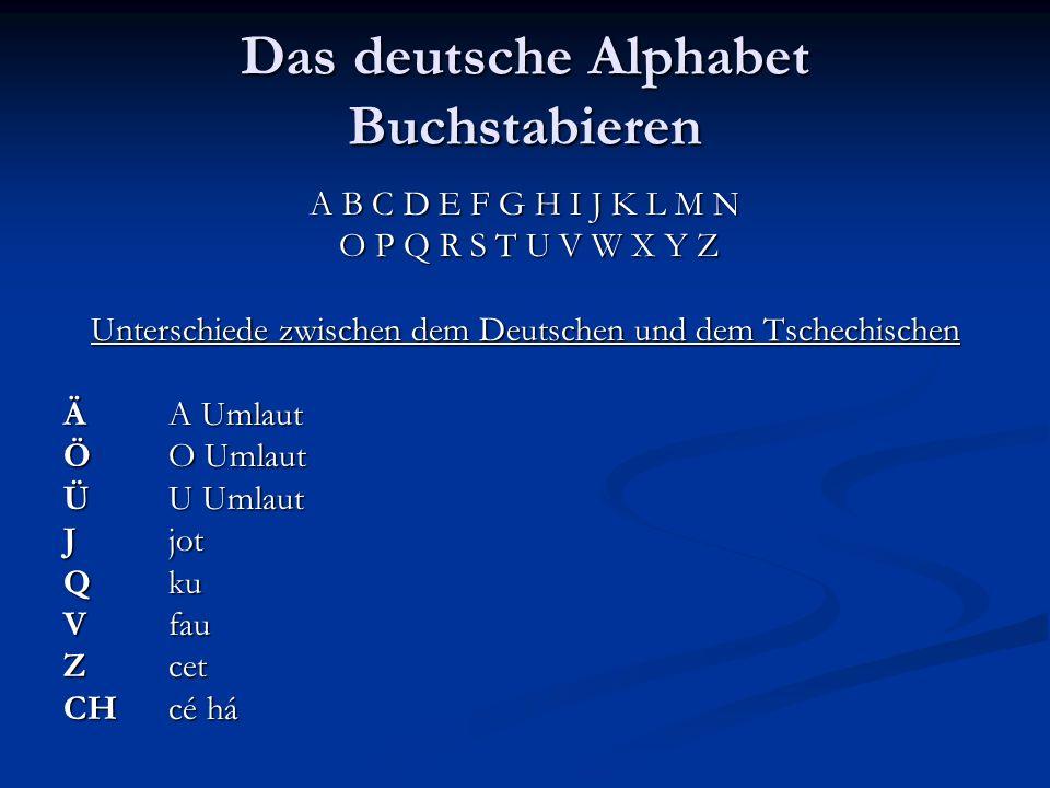Das deutsche Alphabet Buchstabieren A B C D E F G H I J K L M N O P Q R S T U V W X Y Z Unterschiede zwischen dem Deutschen und dem Tschechischen ÄA U