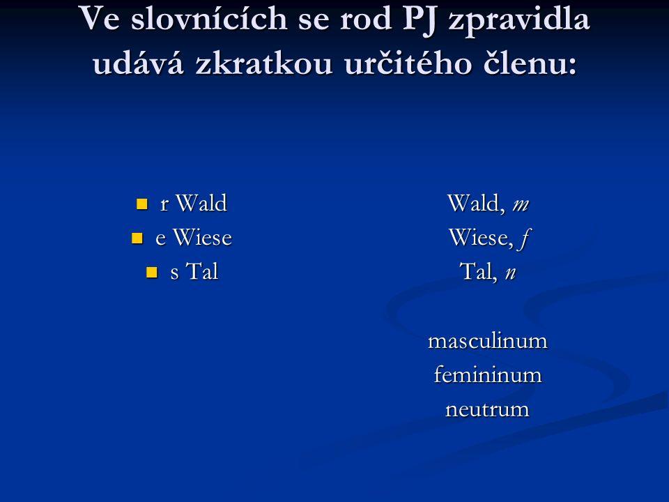 Ve slovnících se rod PJ zpravidla udává zkratkou určitého členu: r Wald r Wald e Wiese e Wiese s Tal s Tal Wald, m Wiese, f Tal, n masculinum femininu