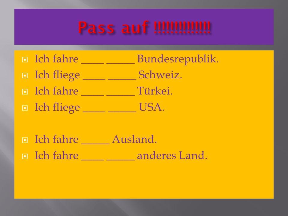 Ich fahre ____ _____ Bundesrepublik. Ich fliege ____ _____ Schweiz. Ich fahre ____ _____ Türkei. Ich fliege ____ _____ USA. Ich fahre _____ Ausland. I