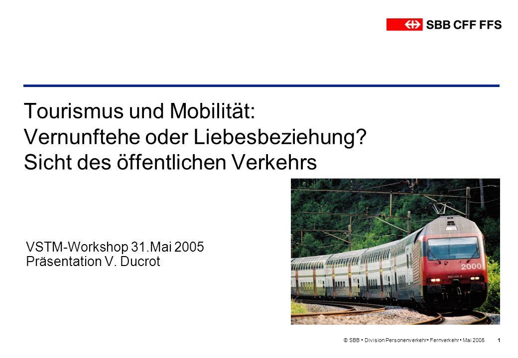 © SBB Division Personenverkehr Fernverkehr Mai 20051 Tourismus und Mobilität: Vernunftehe oder Liebesbeziehung? Sicht des öffentlichen Verkehrs VSTM-W