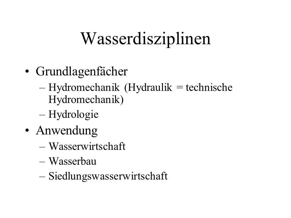 Wasserdisziplinen Grundlagenfächer –Hydromechanik (Hydraulik = technische Hydromechanik) –Hydrologie Anwendung –Wasserwirtschaft –Wasserbau –Siedlungs