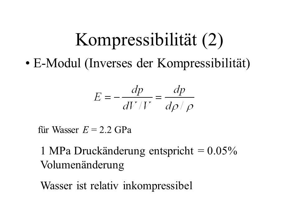 Kompressibilität (2) E-Modul (Inverses der Kompressibilität) für Wasser E = 2.2 GPa 1 MPa Druckänderung entspricht = 0.05% Volumenänderung Wasser ist