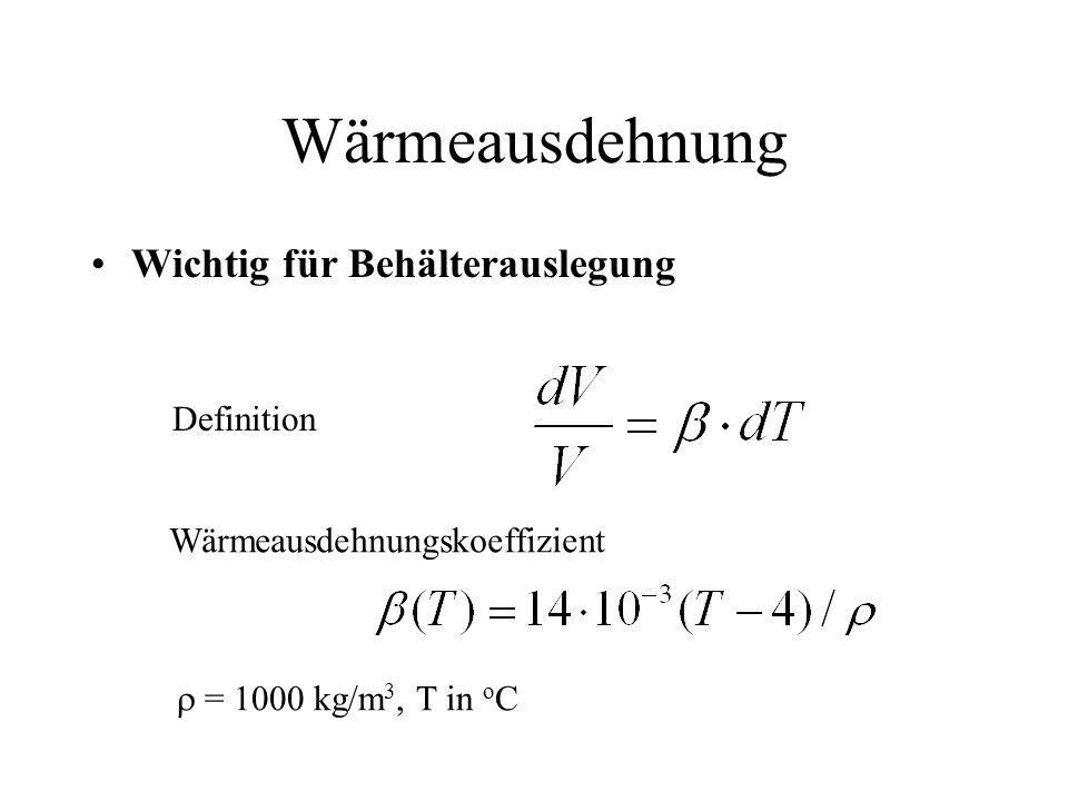 Wärmeausdehnung Wichtig für Behälterauslegung Definition Wärmeausdehnungskoeffizient = 1000 kg/m 3, T in o C