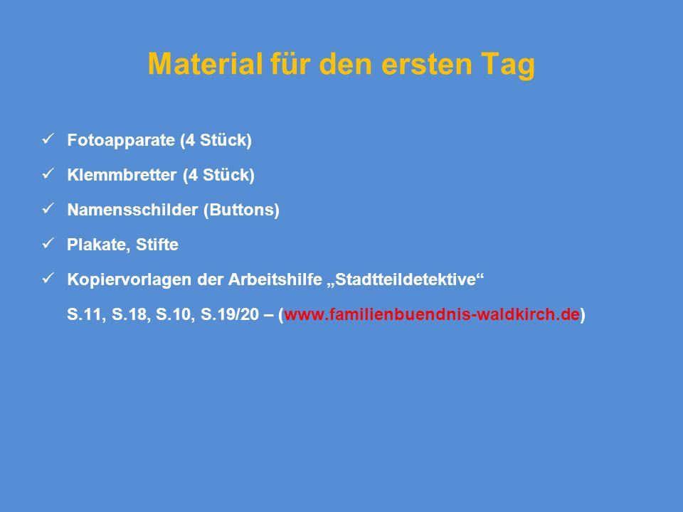 Material für den ersten Tag Fotoapparate (4 Stück) Klemmbretter (4 Stück) Namensschilder (Buttons) Plakate, Stifte Kopiervorlagen der Arbeitshilfe Sta