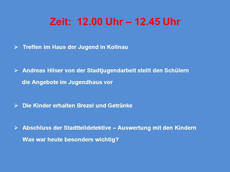 Zeit: 12.00 Uhr – 12.45 Uhr Treffen im Haus der Jugend in Kollnau Andreas Hilser von der Stadtjugendarbeit stellt den Schülern die Angebote im Jugendh
