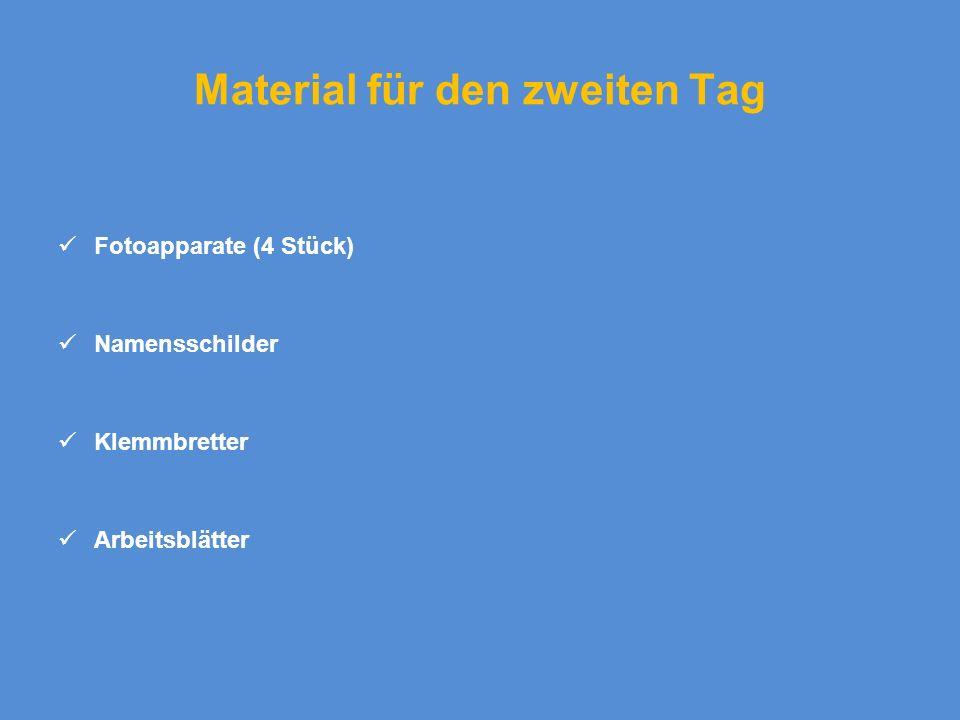Material für den zweiten Tag Fotoapparate (4 Stück) Namensschilder Klemmbretter Arbeitsblätter