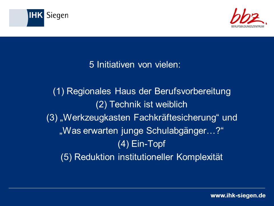 www.ihk-siegen.de 5 Initiativen von vielen: (1) Regionales Haus der Berufsvorbereitung (2) Technik ist weiblich (3) Werkzeugkasten Fachkräftesicherung und Was erwarten junge Schulabgänger….