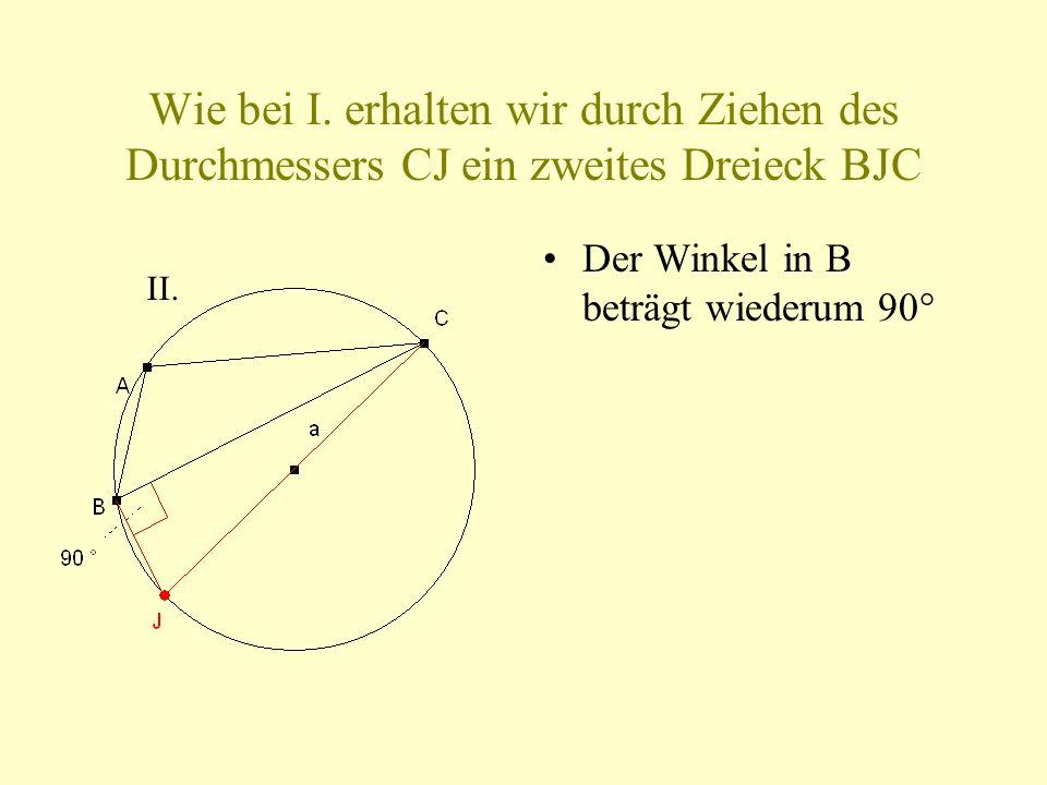 Wie bei I. erhalten wir durch Ziehen des Durchmessers CJ ein zweites Dreieck BJC Der Winkel in B beträgt wiederum 90° II.