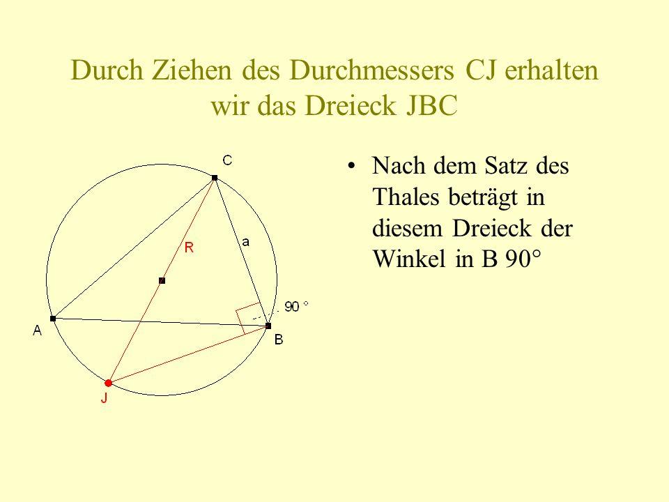 Nach dem Satz des Thales beträgt in diesem Dreieck der Winkel in B 90°