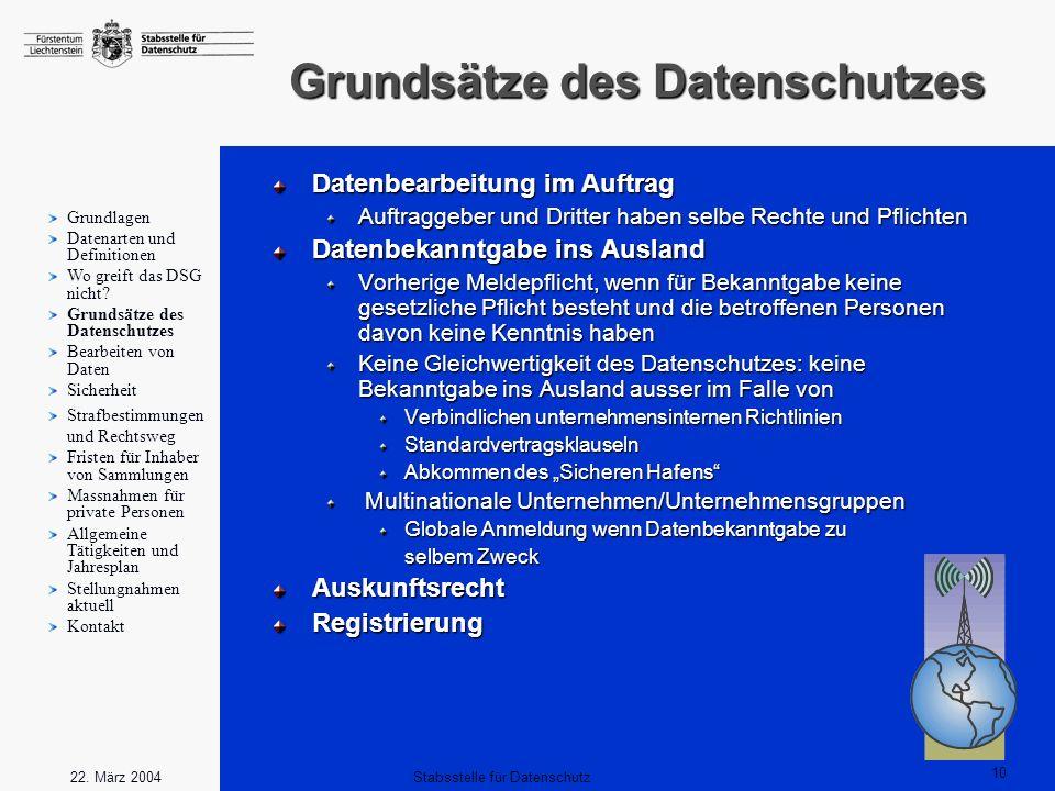 10 Stabsstelle für Datenschutz22. März 2004 Grundsätze des Datenschutzes Datenbearbeitung im Auftrag Auftraggeber und Dritter haben selbe Rechte und P