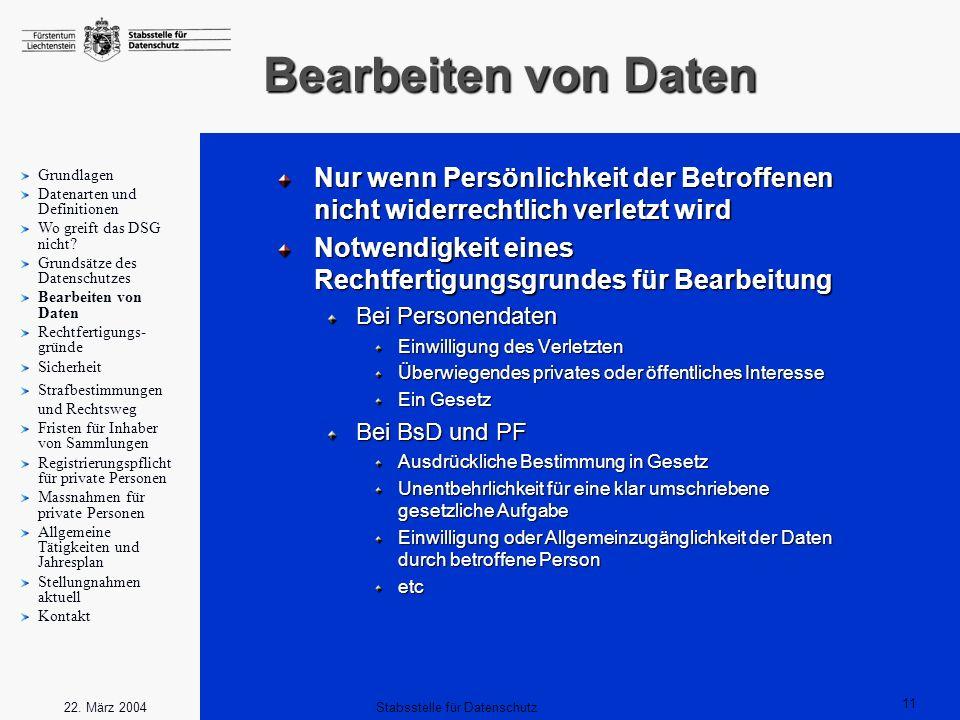 11 Stabsstelle für Datenschutz22. März 2004 Bearbeiten von Daten Nur wenn Persönlichkeit der Betroffenen nicht widerrechtlich verletzt wird Notwendigk