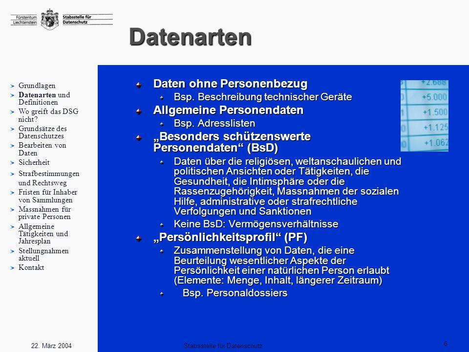 6 Stabsstelle für Datenschutz22. März 2004 Datenarten Daten ohne Personenbezug Bsp. Beschreibung technischer Geräte Allgemeine Personendaten Bsp. Adre