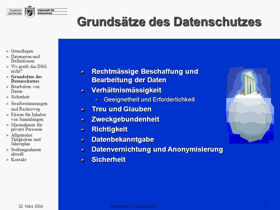 9 Stabsstelle für Datenschutz22. März 2004 Grundsätze des Datenschutzes Rechtmässige Beschaffung und Bearbeitung der Daten Verhältnismässigkeit Geeign