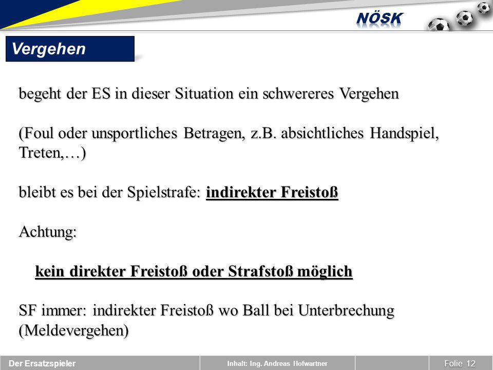 Inhalt: Ing. Andreas Hofwartner Vergehen Folie 12 Der Ersatzspieler begeht der ES in dieser Situation ein schwereres Vergehen (Foul oder unsportliches