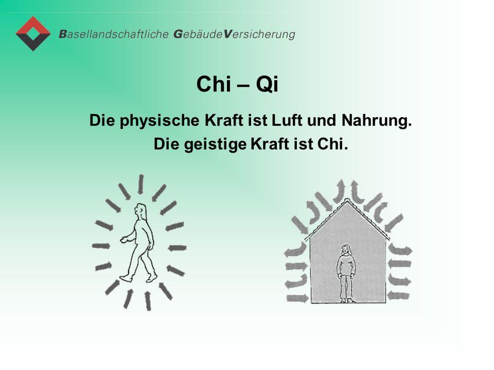 Chi – Qi Die physische Kraft ist Luft und Nahrung. Die geistige Kraft ist Chi.
