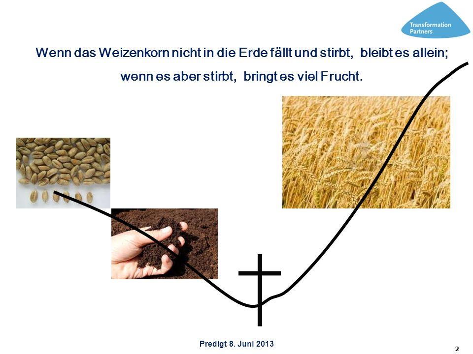 2 Wenn das Weizenkorn nicht in die Erde fällt und stirbt, bleibt es allein; wenn es aber stirbt, bringt es viel Frucht.