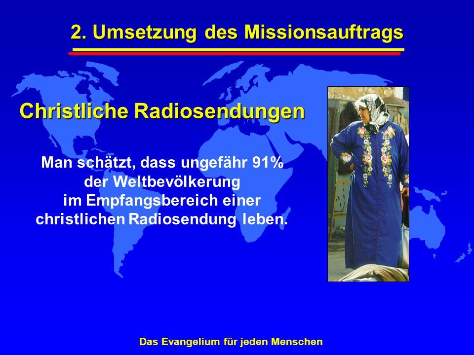 Christliche Radiosendungen Man schätzt, dass ungefähr 91% der Weltbevölkerung im Empfangsbereich einer christlichen Radiosendung leben. Das Evangelium