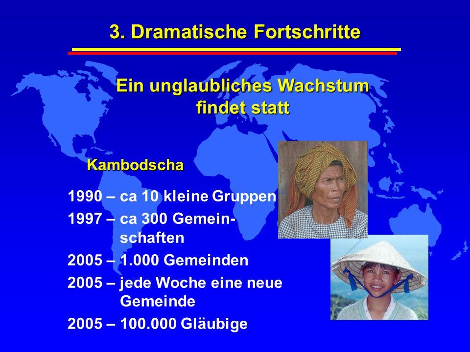 3. Dramatische Fortschritte 1990 – ca 10 kleine Gruppen 1997 – ca 300 Gemein- schaften 2005 – 1.000 Gemeinden 2005 – jede Woche eine neue Gemeinde 200