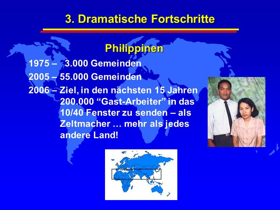 3. Dramatische Fortschritte 1975 – 3.000 Gemeinden 2005 – 55.000 Gemeinden 2006 – Ziel, in den nächsten 15 Jahren 200.000 Gast-Arbeiter in das 10/40 F