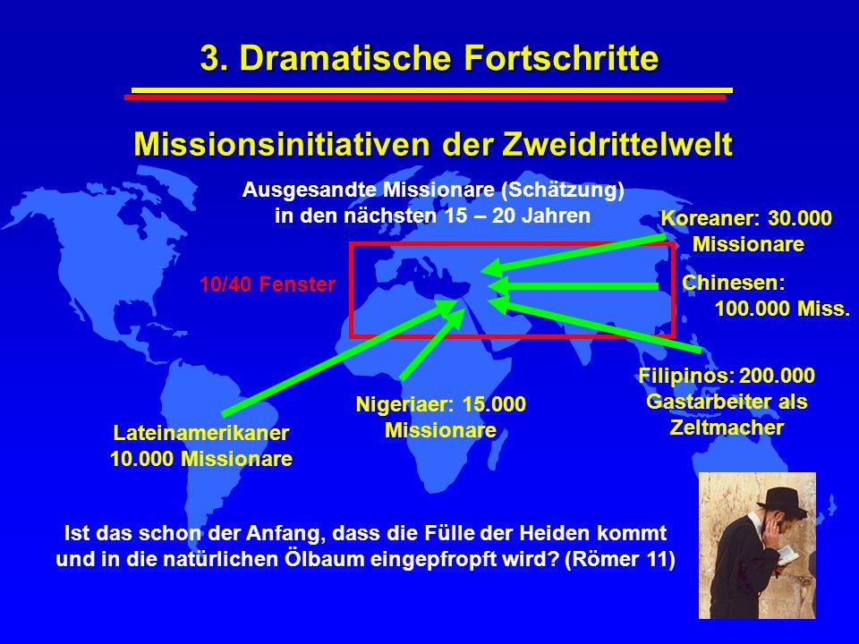 3. Dramatische Fortschritte Missionsinitiativen der Zweidrittelwelt Ausgesandte Missionare (Schätzung) in den nächsten 15 – 20 Jahren Ist das schon de