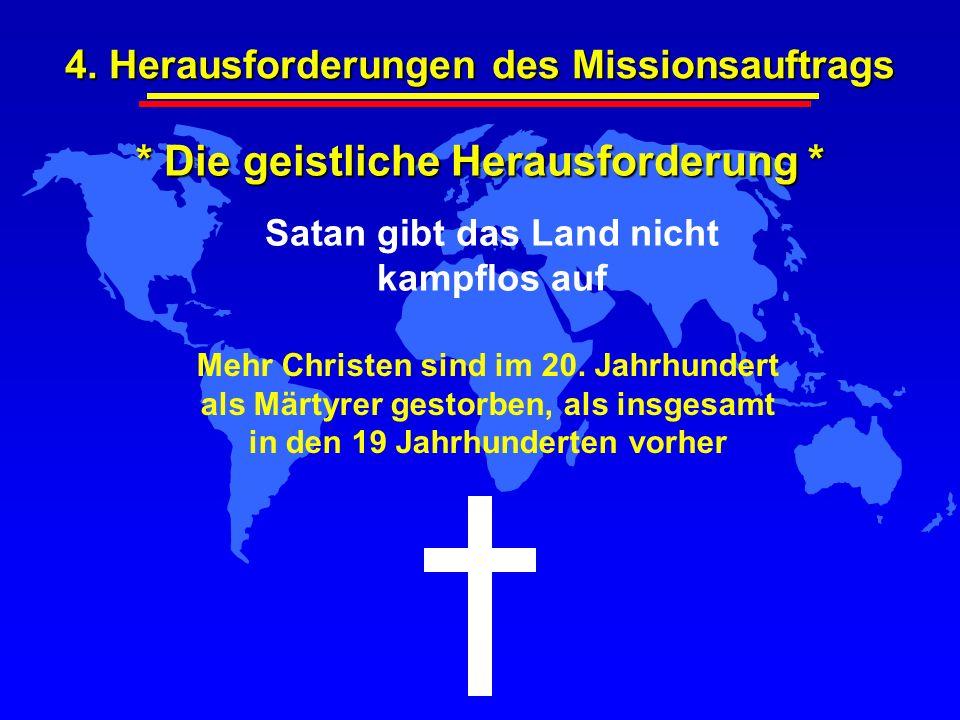* Die geistliche Herausforderung * Satan gibt das Land nicht kampflos auf Mehr Christen sind im 20. Jahrhundert als Märtyrer gestorben, als insgesamt
