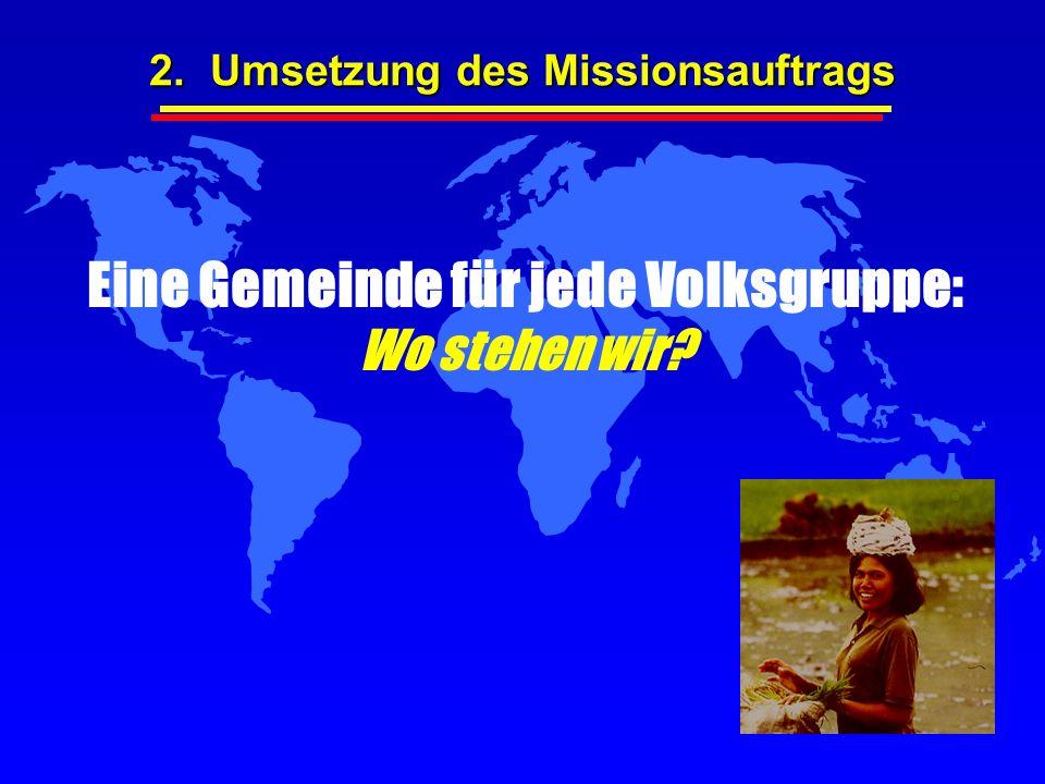 Eine Gemeinde für jede Volksgruppe: Wo stehen wir? 2. Umsetzung des Missionsauftrags