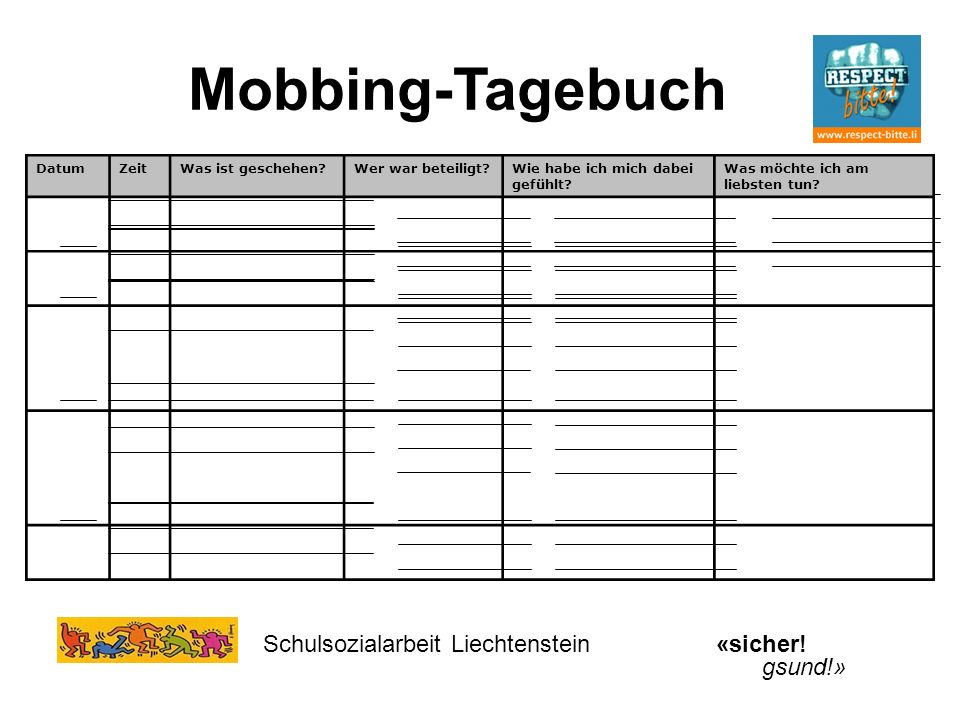 Schulsozialarbeit Liechtenstein«sicher! gsund!» DatumZeitWas ist geschehen?Wer war beteiligt?Wie habe ich mich dabei gefühlt? Was möchte ich am liebst