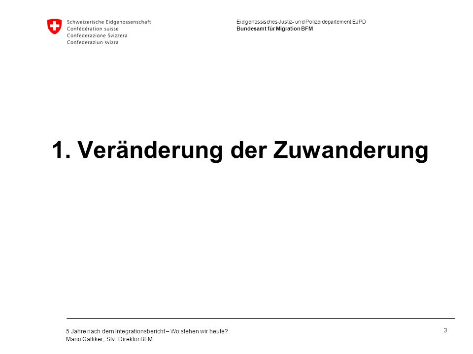 Eidgenössisches Justiz- und Polizeidepartement EJPD Bundesamt für Migration BFM 5 Jahre nach dem Integrationsbericht – Wo stehen wir heute? Mario Gatt