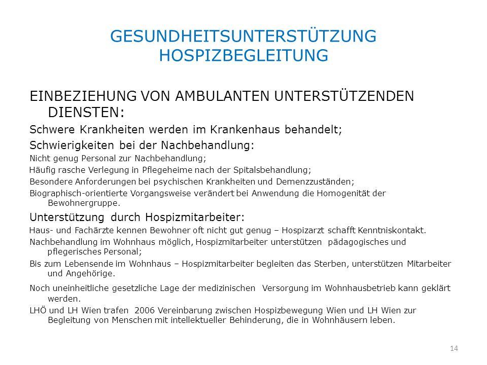 GESUNDHEITSUNTERSTÜTZUNG HOSPIZBEGLEITUNG EINBEZIEHUNG VON AMBULANTEN UNTERSTÜTZENDEN DIENSTEN: Schwere Krankheiten werden im Krankenhaus behandelt; S