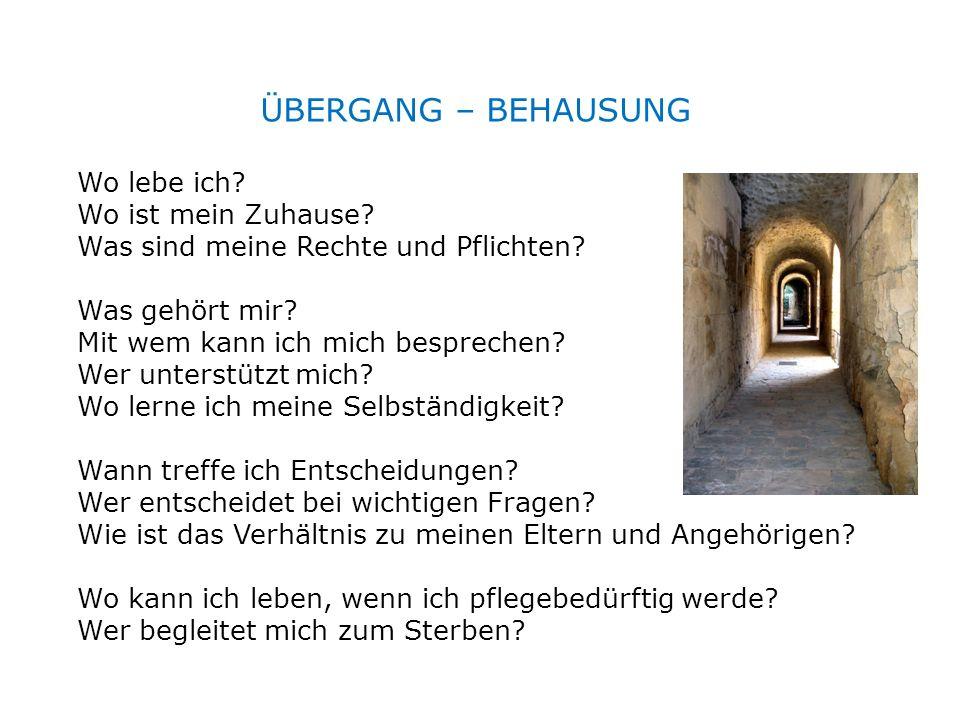 ÜBERGANG – BEHAUSUNG Wo lebe ich? Wo ist mein Zuhause? Was sind meine Rechte und Pflichten? Was gehört mir? Mit wem kann ich mich besprechen? Wer unte