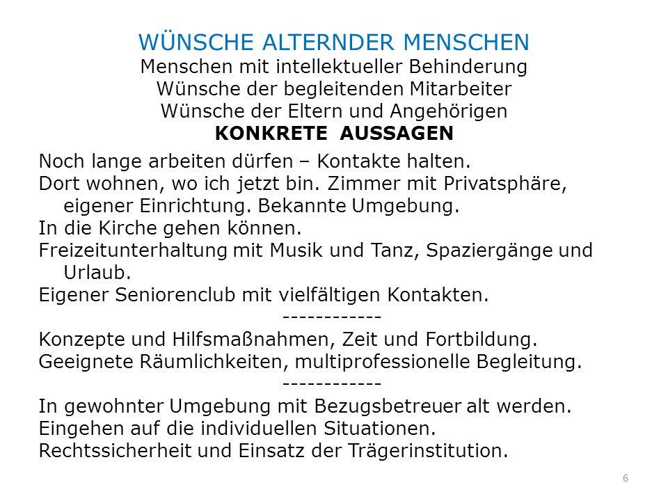 MENSCHEN MIT INTELLEKTUELLER BEHINDERUNG IN ÖSTERREICH FRAGE DER WOHNPLÄTZE Bundesland > 40 Jahre N > 40 Jahre ohne betreuten Wohnplatz Wien660243 (37%)Wien660243 (37%) Burgenland 84 31 (37%)Burgenland 84 31 (37%) Kärnten103 20 (19%)Kärnten103 20 (19%) Niederösterreich560186 (33%)Niederösterreich560186 (33%) Oberösterreich455171 (38 %)Oberösterreich455171 (38 %) Salzburg277 47 (17%)Salzburg277 47 (17%) Steiermark235 78 (33%)Steiermark235 78 (33%) Tirol245126 (51%)Tirol245126 (51%) Vorarlberg247134 (54%)Vorarlberg247134 (54%) Summe 2866 1036 (36%) Summe 2866 1036 (36%) Ohne betreuten Wohnplatz in Österreich 36 %Ohne betreuten Wohnplatz in Österreich 36 % (Studie LEBENSHILFE ÖSTERREICH, Wien 2000.)(Studie LEBENSHILFE ÖSTERREICH, Wien 2000.) 7