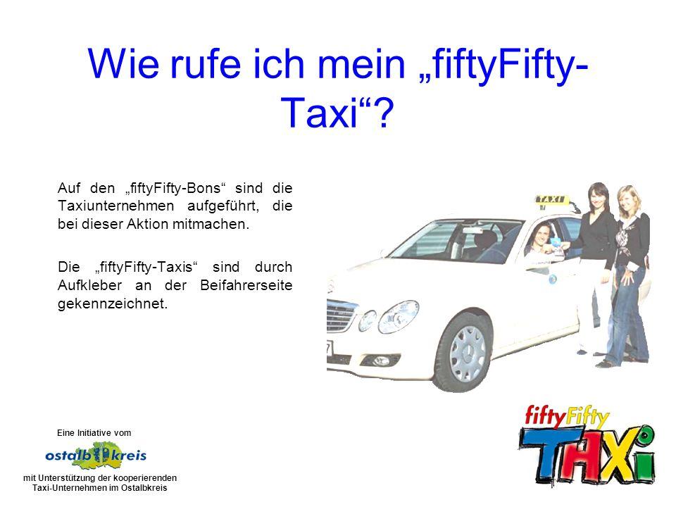 Auf den fiftyFifty-Bons sind die Taxiunternehmen aufgeführt, die bei dieser Aktion mitmachen.