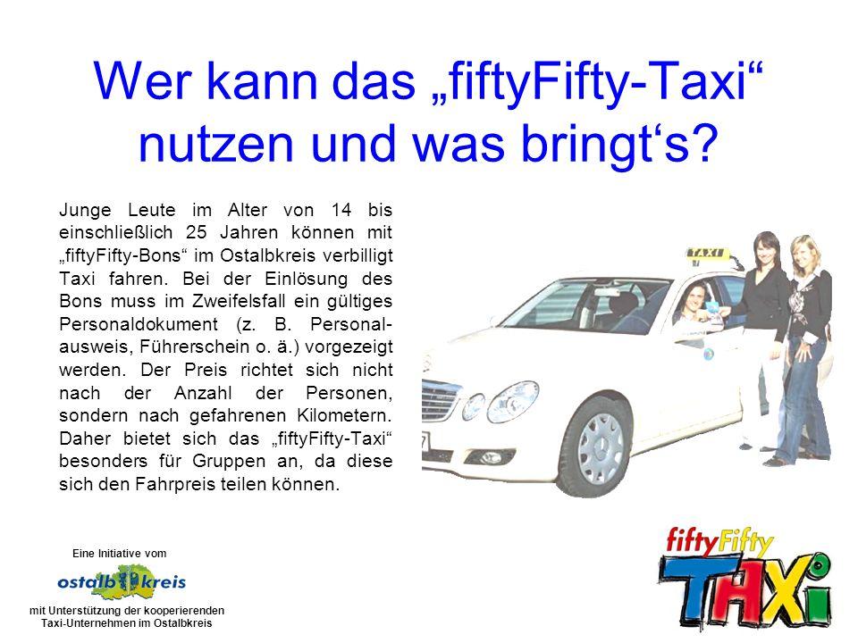 Junge Leute im Alter von 14 bis einschließlich 25 Jahren können mit fiftyFifty-Bons im Ostalbkreis verbilligt Taxi fahren.