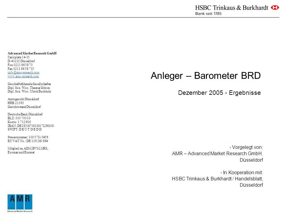 Anleger – Barometer BRD Dezember 2005 - Ergebnisse Vorgelegt von: AMR – Advanced Market Research GmbH, Düsseldorf In Kooperation mit: HSBC Trinkaus & Burkhardt / Handelsblatt, Düsseldorf Advanced Market Research GmbH Carlsplatz 14-15 D-40213 Düsseldorf Fon 0211 86 58 70 Fax 0211 86 58 715 info@amr-research.com www.amr-research.com Geschäftsführende Gesellschafter Dipl.