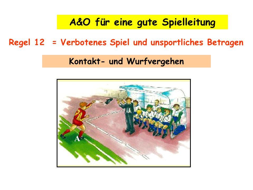 A Regel 12 = Verbotenes Spiel und unsportliches Betragen A&O für eine gute Spielleitung Kontakt- und Wurfvergehen