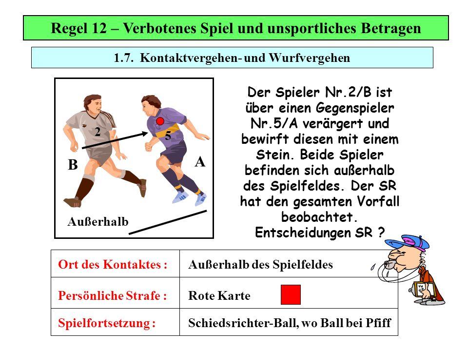 1.7. Kontaktvergehen- und Wurfvergehen Regel 12 – Verbotenes Spiel und unsportliches Betragen Spielfortsetzung : Persönliche Strafe : Ort des Kontakte